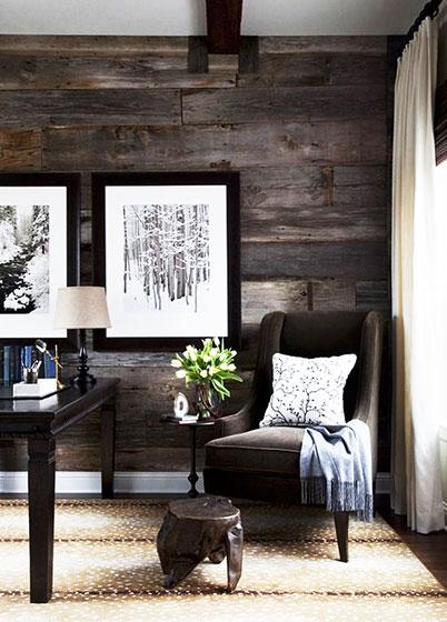 深色调木板背景墙设计