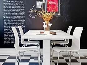 创意无极限 14个黑板爬上餐厅背景墙