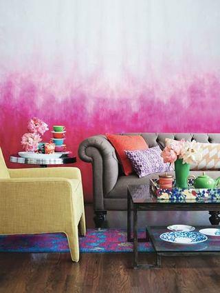 桃红色渐变客厅墙面