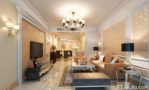 浪漫舒适的简欧客厅装修效果图图片