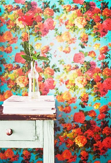 红色+蓝色墙面壁纸