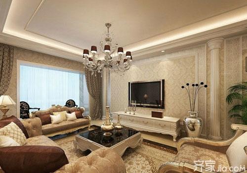 石膏线客厅电视背景墙效果图