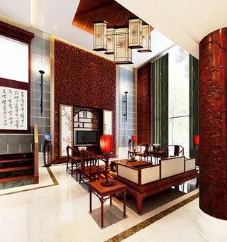 简约中式客厅电视背景墙