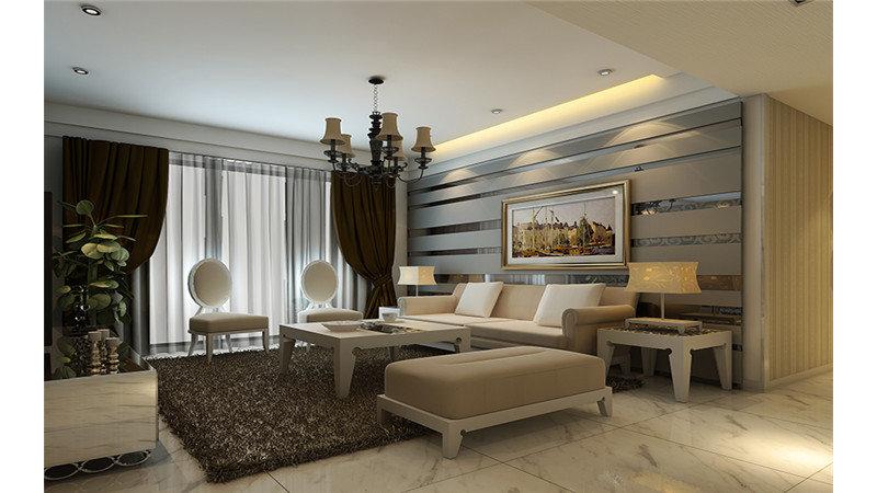 10-15万120平米欧式三居室装修效果图,简欧风格装修图图片