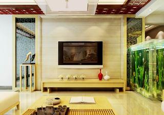 米黄色新中式电视背景墙效果图
