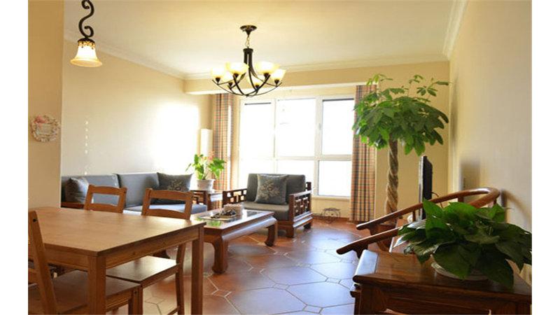 100平米中式二居室装修效果图,当代万国城装修案例图图片