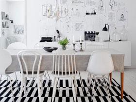裝修餐廳效果圖 14款經典黑白設計