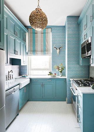 清新蓝色厨房效果图