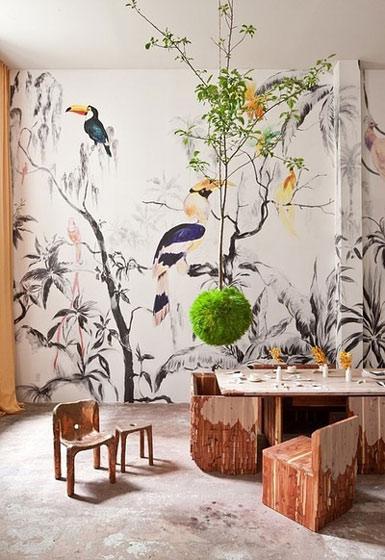 中式餐厅壁纸效果图