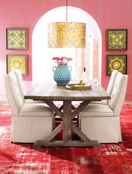 粉色红色餐厅效果图