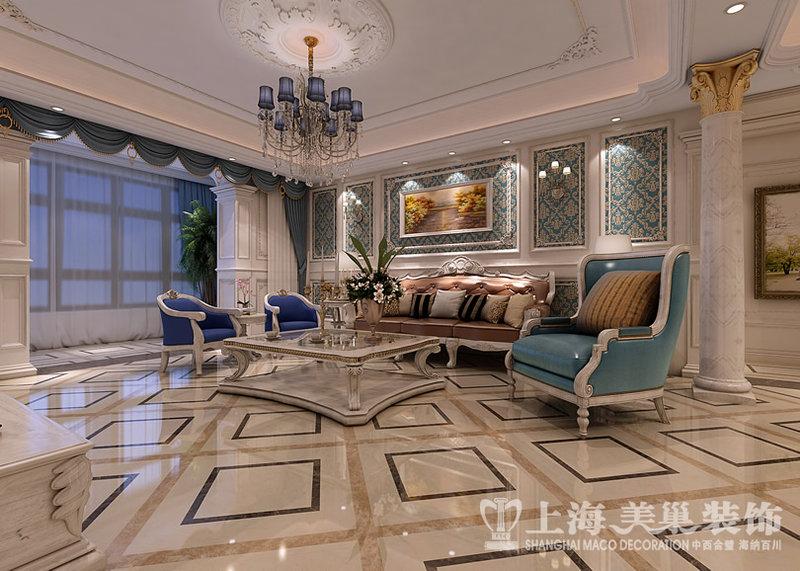正商铂钻300平复式法式奢华装修效果图-客厅,沙发背景墙