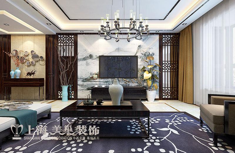 名家166平方三室两厅新中式风格装修效果图---沙发背景墙新中式装