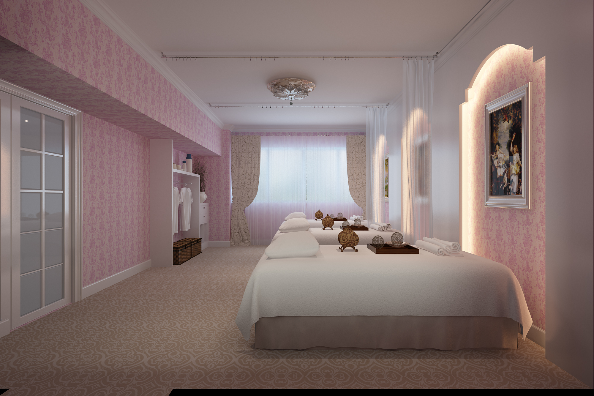 法式田园风装饰现代公寓室内效果图图片
