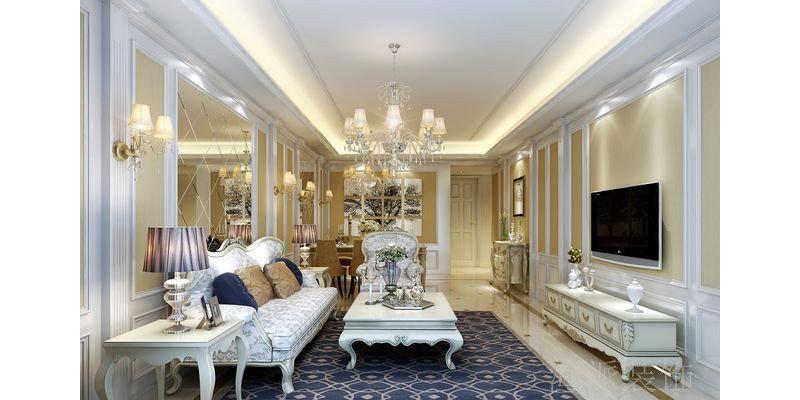 5-10万120平米欧式三居室装修效果图,简欧风格效果图图片