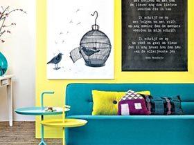 12个黄色蓝色主题客厅 巧混搭轻复古