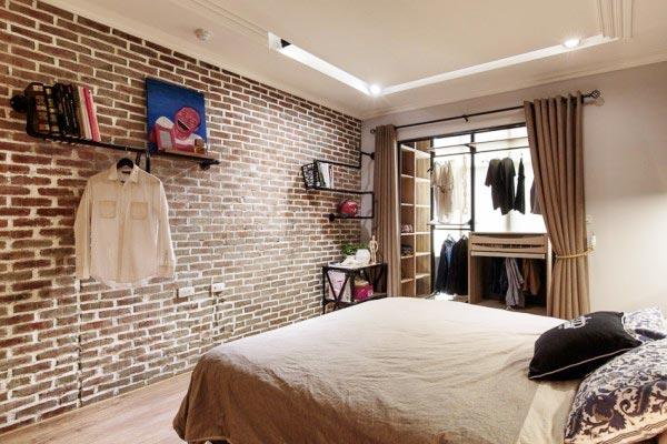 卧室裸砖墙打造复古即视感