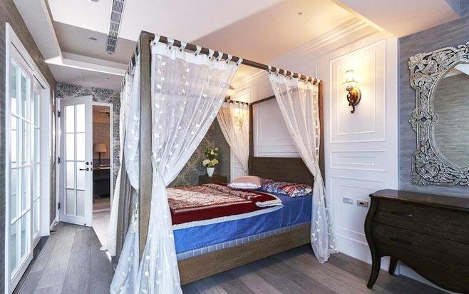 卧室蓝色纱幔窗帘_齐家网装修效果图