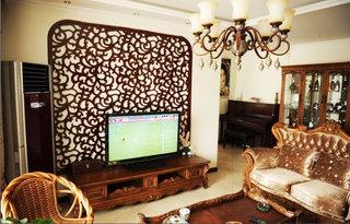 100平方装修效果图客厅电视背景墙设计