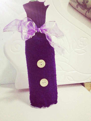 紫色酒瓶DIY创意设计