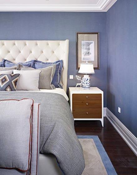 清爽蓝色卧室布置效果图