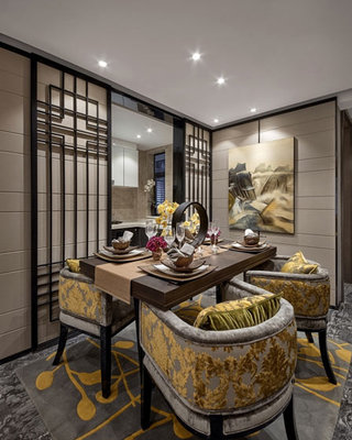 中式屏风餐厅图片