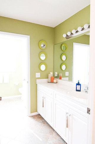清新抹绿色卫生间背景墙设计