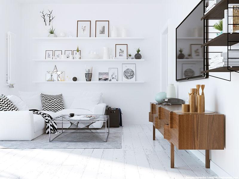 白色装修风格客厅电视墙设计