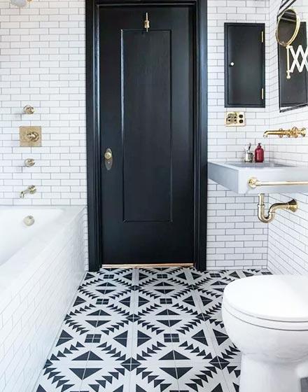 黑白时尚卫浴间地砖