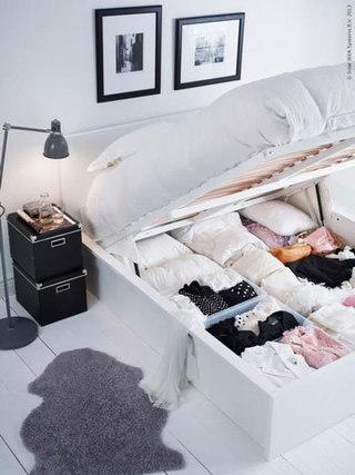 宜家白色收纳床图片