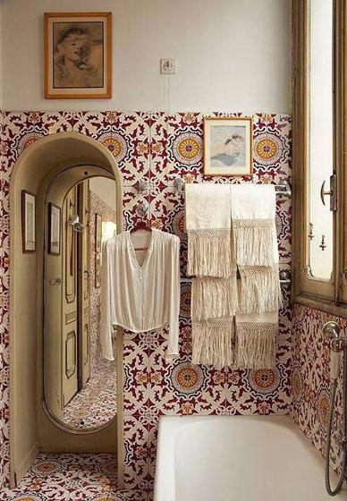 乡村风格瓷砖卫生间