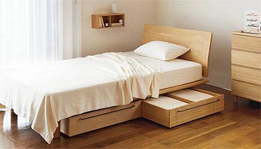 实木收纳床图片