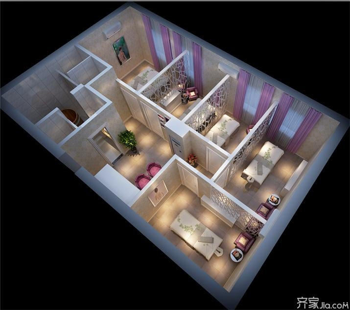 家居图册 美容装修设计图 美容院,10-15万,30-60平米