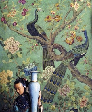 中式复古壁纸装修效果图片