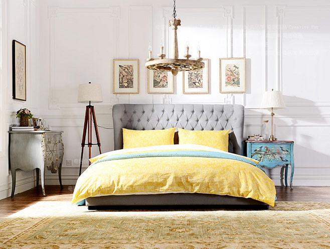 灰色黄色卧室效果图