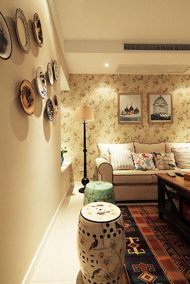 60平米美式装修风格客厅背景墙设计