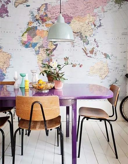 地图完美装饰餐厅背景墙