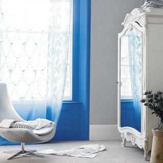 白色蕾丝窗帘效果图