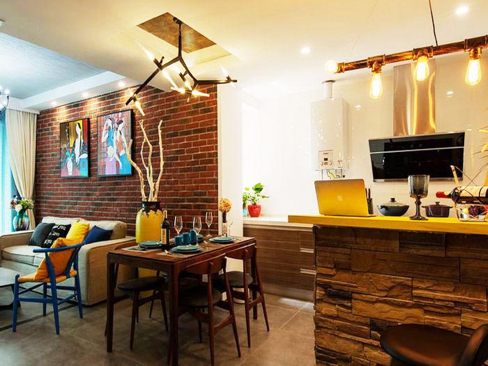 80平装修效果图客厅餐厅设计
