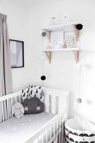 黑白灰清新婴儿房效果图