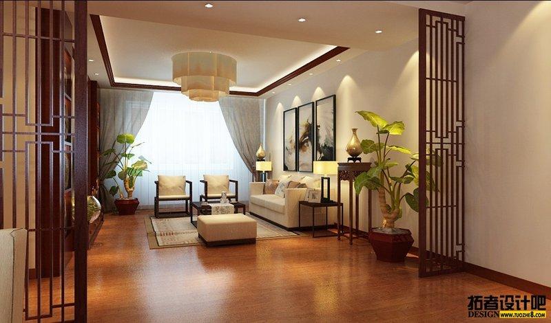 5-10万120平米中式三居室装修效果图,中式装饰效果图图片