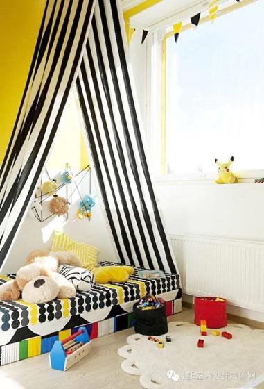黄色黑色温暖儿童房设计