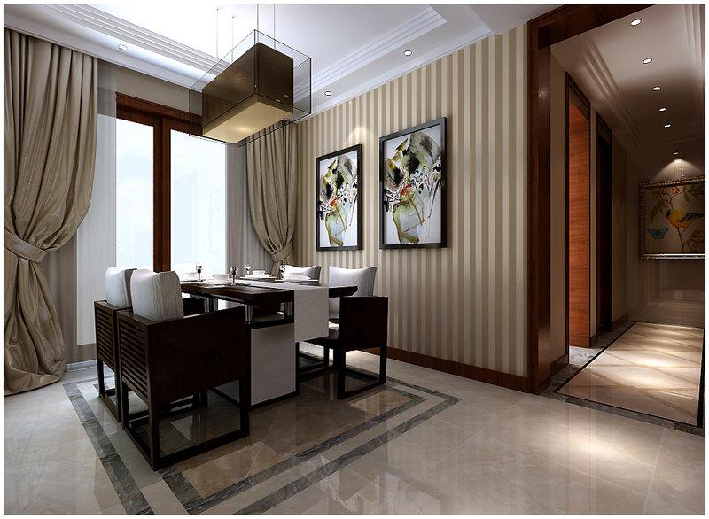 5-10万100平米中式三居室装修效果图,新中式装修案例图片