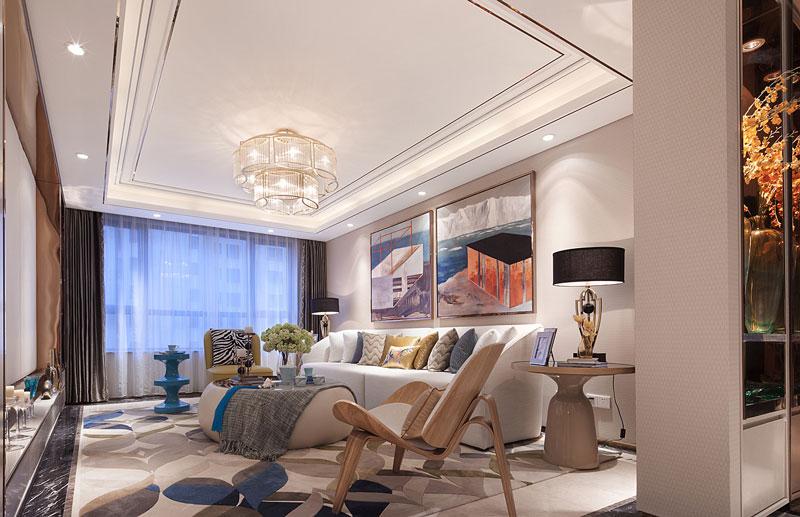 新中式质感客厅吊顶设计图片