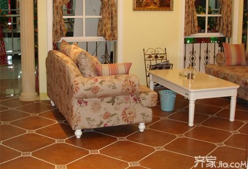 效果图 客厅 高端/客厅地面拼花效果图:在金碧辉煌的英式风格客厅中,宽敞的客厅...