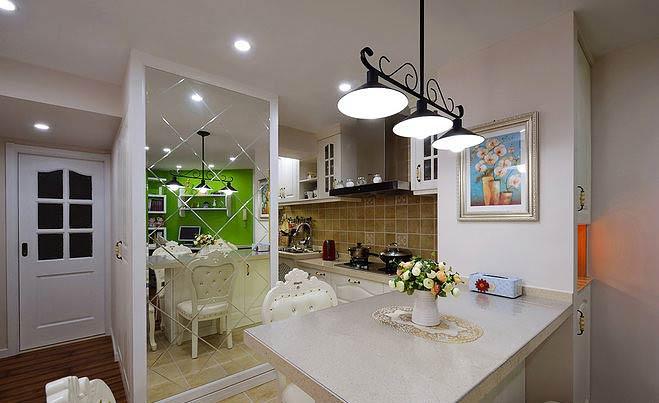 美式风格两室一厅绿色90平米效果图图片