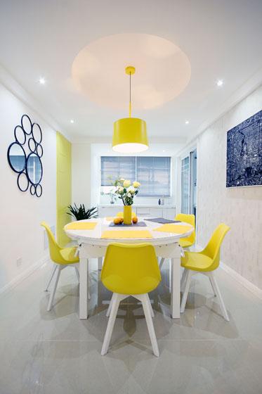 柠檬黄现代简约风餐厅装饰大全