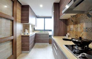 自然简约风厨房 咖色系厨房效果图