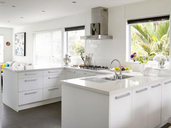 北欧风开放式厨房 L型白色橱柜效果图