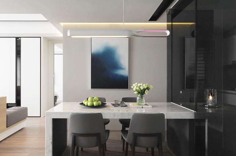 灰色系现代简约风餐厅效果图