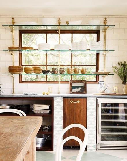 厨房玻璃搁架装修效果图